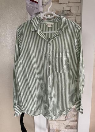 Хлопковая оверсайз рубашка в полоску, блуза