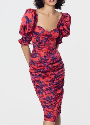 Распродажа присборенное платье fashion union миди с рукавами-буфами c asos