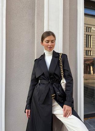 Базовый демисезонный двубортный длинный тренч пальто