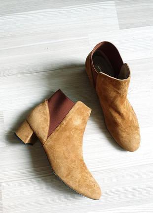 Замшевые коричневые ботильоны ботинки сапожки 26см итальянские кожа