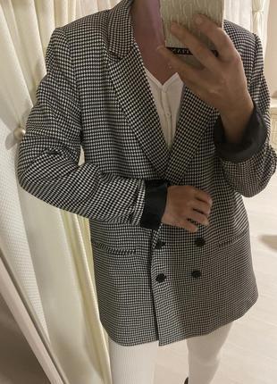 Пиджак жакет шерстяной с вискозы в клетку гусиную лапку