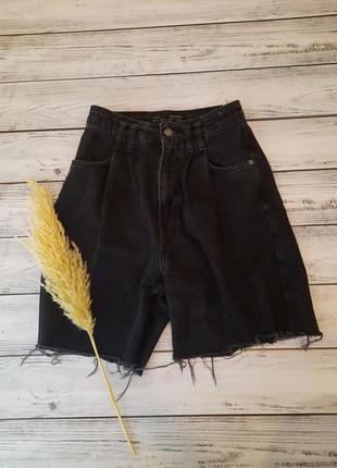 Стильные трендовые шорты оверсайз с необработаными краями джинсовые