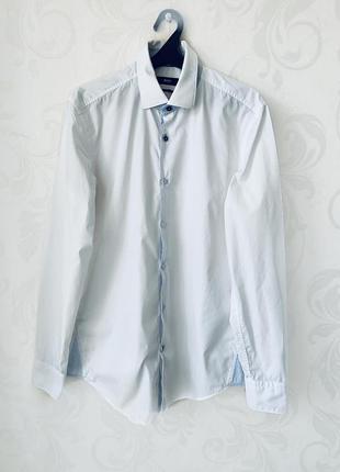 Белая хлопковая рубашка hugo boss