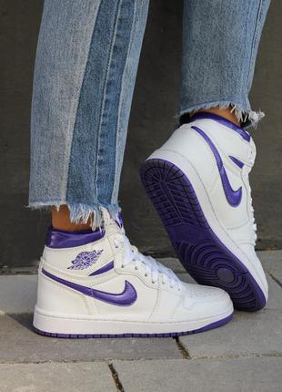 Кроссовки nike air jordan 1 retro high court purple белые