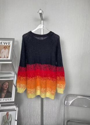Яркий ангоровый свитер в полоску