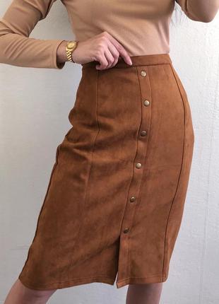 Очень красивая плотная юбка карандаш из ткани под замшу