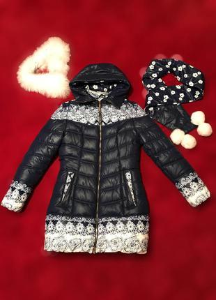 Зимний пуховик, темно синий с белым рисунком, куртка трапеция с мехом