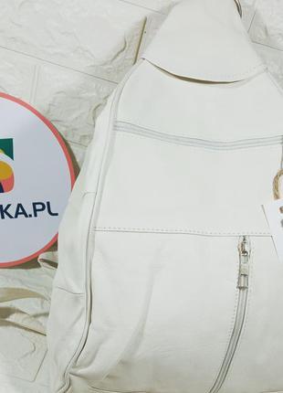 Рюкзак кожаный белый сумка-рюкзак женская для мамы для девочки для прогулок рюкзак-сумка трансформер