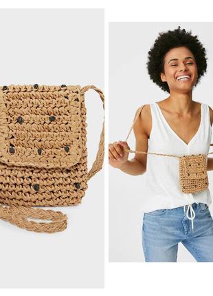 Соломенная сумка-карман для мобильного телефона