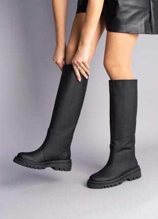 Женские матовые кожаные сапоги 7002-1