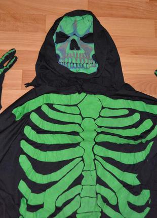 Мужской карнавальный костюм на хэллоуин, хеловин, хеллоуин, смерть, скелет