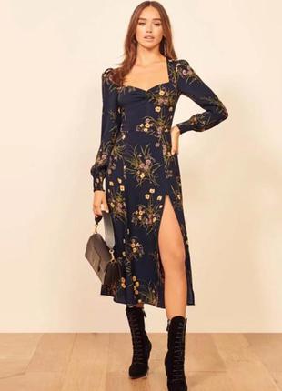 Шикарное платье с пышными рукавами и вырезом сердечком цветочный принт