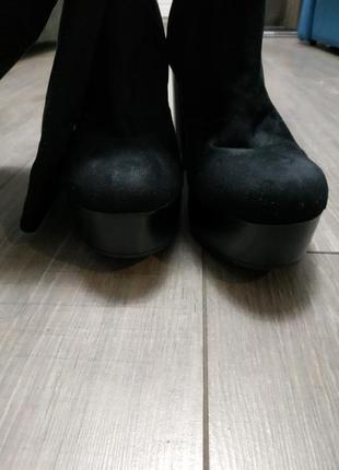 Сапоги на каблуке текстиль под замшу черные catwalk3 фото