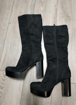 Сапоги на каблуке текстиль под замшу черные catwalk2 фото