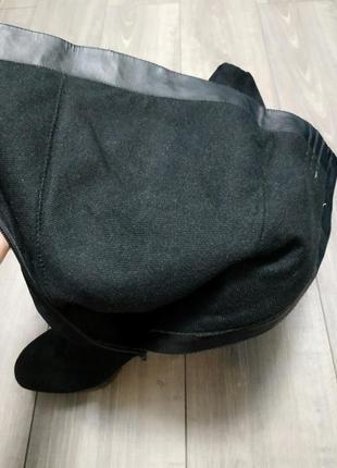 Сапоги на каблуке текстиль под замшу черные catwalk6 фото