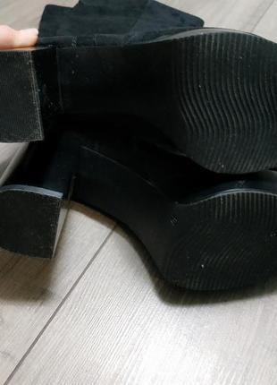 Сапоги на каблуке текстиль под замшу черные catwalk5 фото