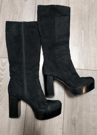 Сапоги на каблуке текстиль под замшу черные catwalk1 фото