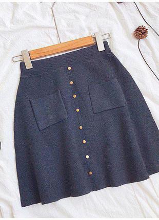 Юбка серая женская трапеция с карманами кнопками графит