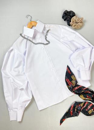 Рубашка с объёмными рукавами из хлопка на пуговицах