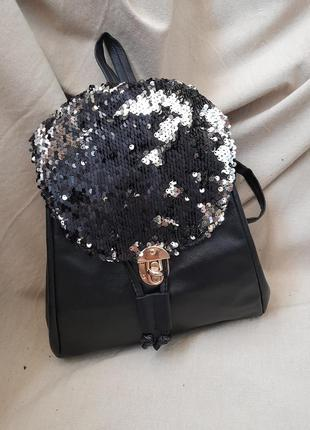 Хитовый стильный женский чёрный рюкзак с паетками распродажа