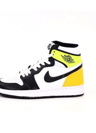 Кроссовки женские желтые высокие nike air jordan 1 mid