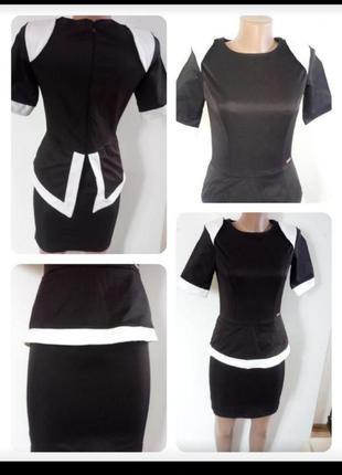Атласне плаття з баскою в обтяжку(атласное платье с баской)