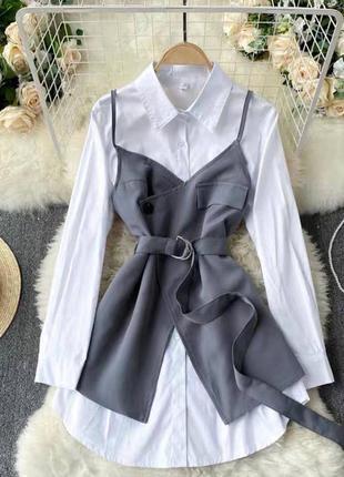 Стильный костюм платье рубашка и сарафан