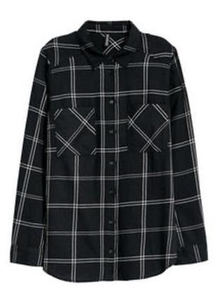 Чёрная базовая рубашка в клетку от h&m