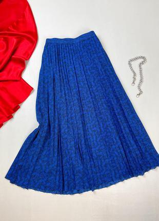 Синяя шифоновая плиссированная юбка m&s
