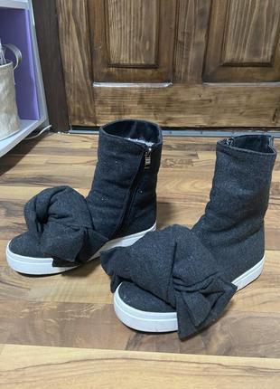 Зимние валенки, зимние ботинки с бантом