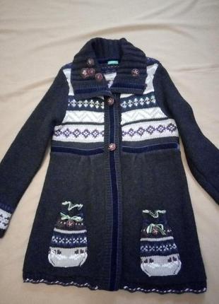 Теплый кардиган, кофта, вязаное пальто, орнамент, пайетки, 50% шерсть