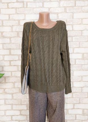 Фирменный lands'end стильный свитер со 100 % хлопка цвета хаки в косы, размер л-хл
