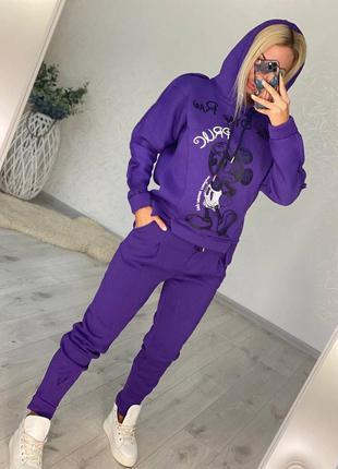 Костюм фиолетовый женский оверсайз спортивный на флисе