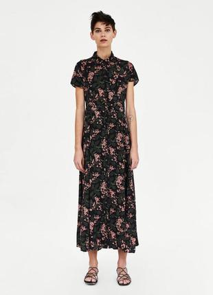 Платье макси в цветочный принт zara