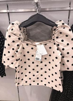 Кофточка блузка футболка h&m в горох с объёмными рукавами h&m