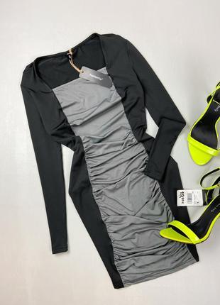 Платье мини черное с драпировкой fashion