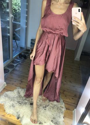 Платье со шлейфом асимметрия помадный цвет атласное, сатин нарядное
