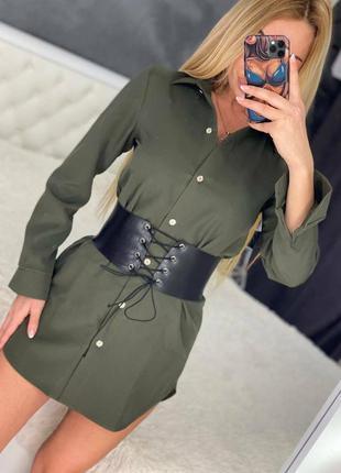 Платье рубашка хаки с поясом ремнём