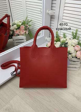 Женская сумка красная эко.кожа короткие ручки