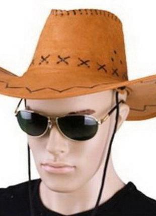 Шляпа ковбоя замшевая ковбойка бежевая новая + подарок