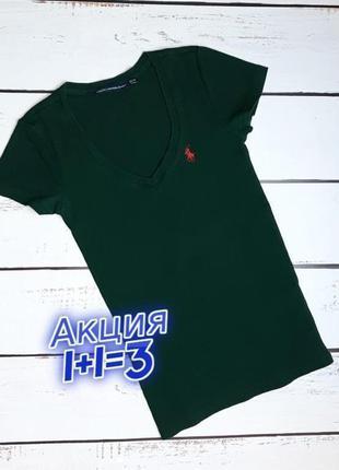 1+1=3 фирменная изумрудная женская футболка ralph lauren, размер 42 - 44
