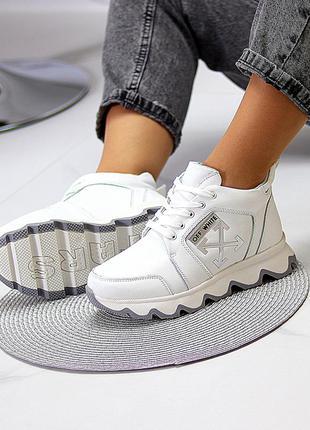 Белые спортивные кожаные женские ботинки натуральная кожа