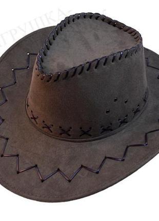 Шляпа ковбойская коричневая замшевая ковбойка унисекс +подарок