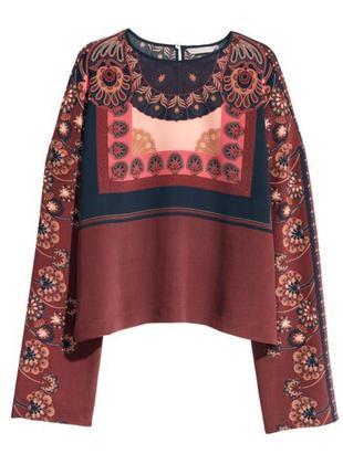 Шикарная шёлковая блуза h&m цвета марсала в интересный принт. 100% шёлк.