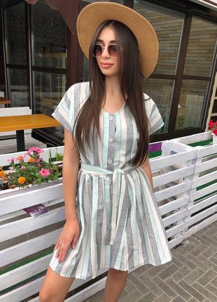 Платье с поясом в полоску льняное лён