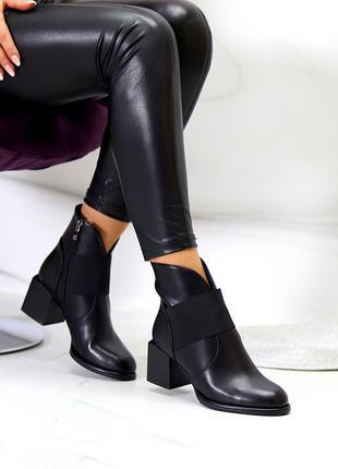 Люксовые модельные черные женские ботинки ботильоны на фигурном каблуке