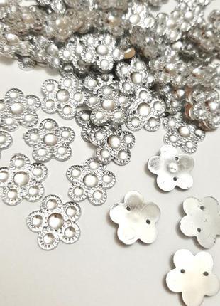 Набор стразы серебряные прозрачные цветочки пришивные пайетки индия