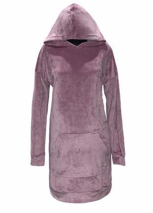 Платье худи с капюшоном с длинным рукавом свободное