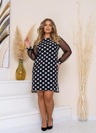 Платье женское короткое повседневное с принтом и с сеткой
