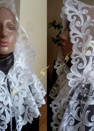 Платок церковный, хустка, палантин снуд в храм для крестин, венчания